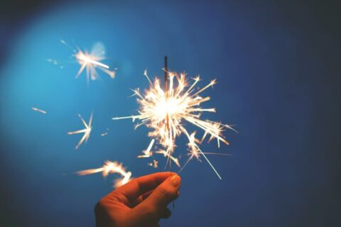 One sparkler with many sparks